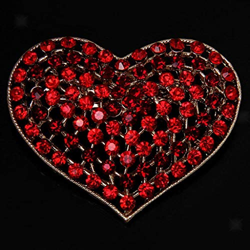 (New Crystal Rhinestone Love Hearts Brooch Pins Costume Jewelry | Color - Red)