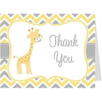 Chevron Giraffe, Baby Shower, Thank You Cards, Yellow, Gray, Neutral,