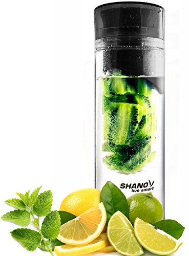 Infused Fruit and Lemon Water Bottle - LiveSmart Fruit Infuser Model - Large 24 Ounce Bottle - Black Color