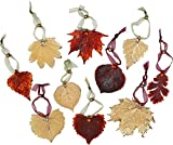 Leaf Ornaments - Set of Ten Iridescent and Gold Plated Leaves. May Vary Slightly!