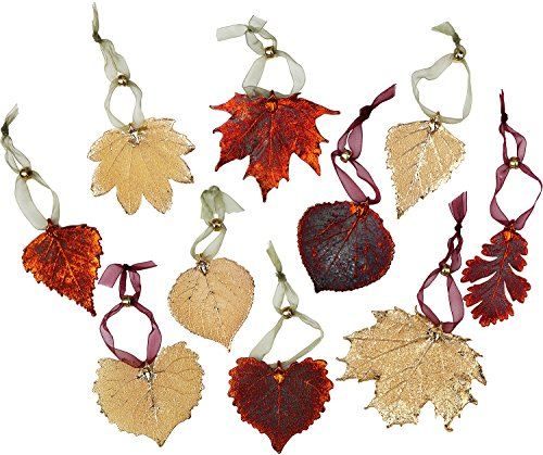 Leaf Ornaments - Set of Ten Iridescent and Gold Plated Leaves. May Vary Slightly! - Ornament Gold Leaf