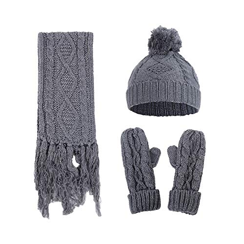 FimKaul Women Knit Hat Scarf Glove Set Knitted Solid Fashion Warm Soft Cable Winter Gift(Gray)