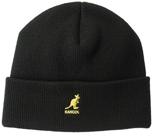 Kangol Unisex-Adults Acrylic Pull-On, Black/Gold, 1SFM (Pull Hat Wool On)