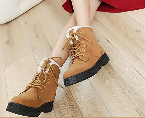 Plus Khaki Suede Cotton Sneaker Shoes Platform Boots Womens Up Waterproof Winter Womens Snow Velvet Lace Flat nHW7Twx
