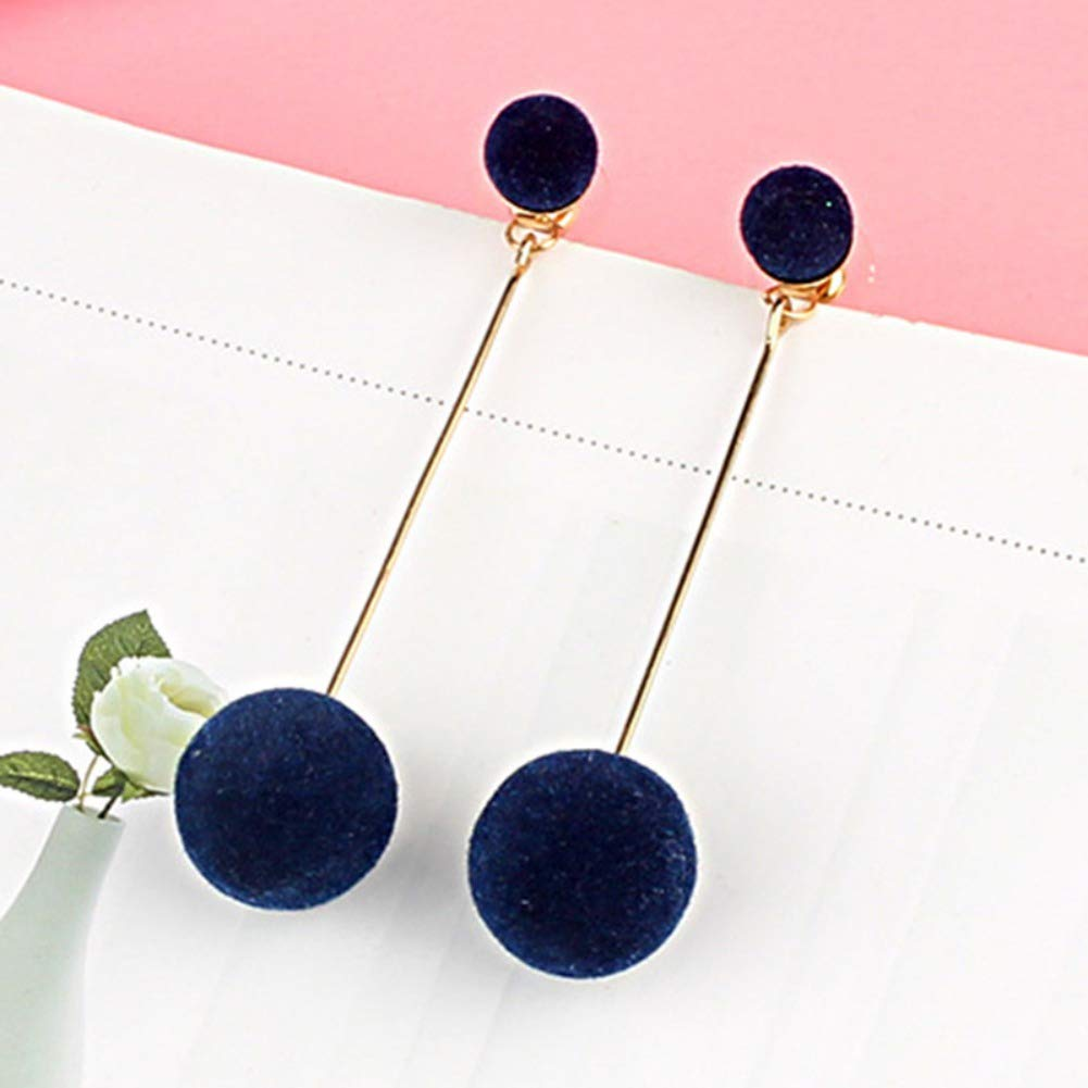Huoju Women Fashion Sweet Cute All-match Long Style Concise Casual Exquisite Round Ball Dangle Earrings