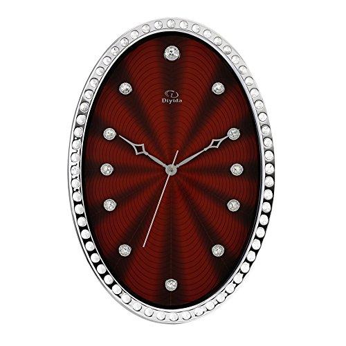 JCRNJSB® パーソナリティウォールクリエイティブミュートダイヤモンドオーバルリビングルームクォーツ時計 壁掛けサスペンション クロックウォールクロック クォーツ時計 (色 : #3) B07D3KKKL1#3