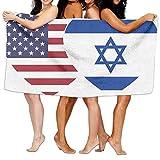 Unisex Israel USA Flag Twin Heart Over-Sized Cotton Bath Beach Travel Towels 31x51 Inch