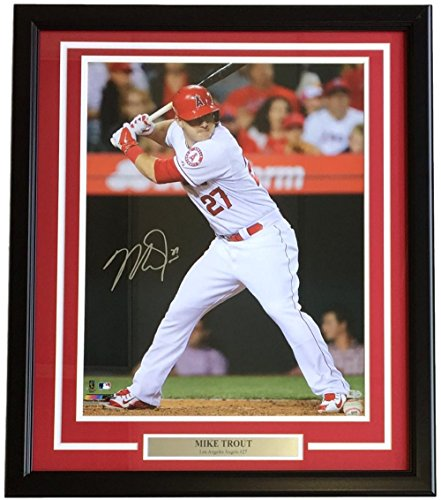 Mike Trout Signed Framed Los Angeles Angels 16x20 Batting Stance Photo MLB