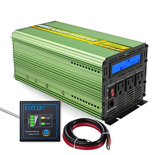 (EDECOA 2000W Power Inverter 12V DC to 110V AC Power Converter with Remote Controller)