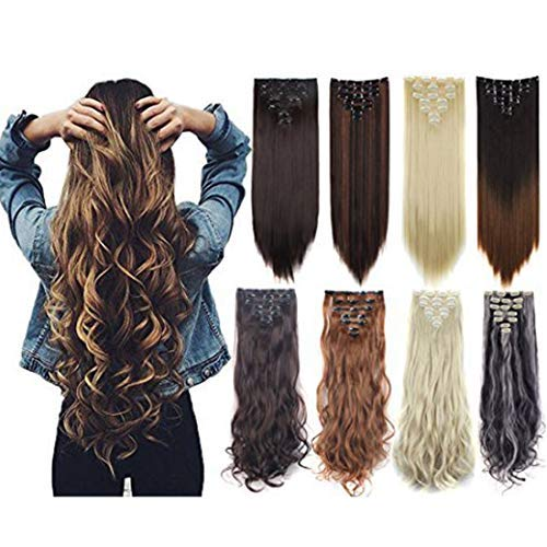 "7Pcs 16 Clips 23""-24"" Thick Curly Straight Full Head Clip in on Double Weft Hair Extensions"