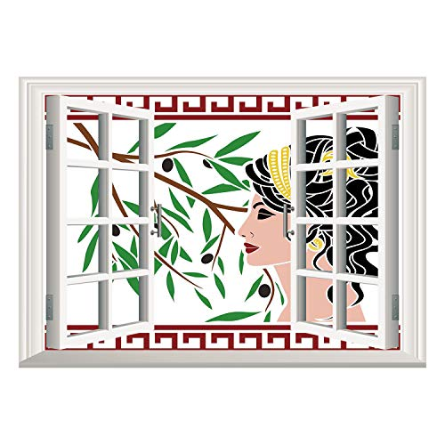 - SCOCICI Window Frame Style Home Decor Art Removable Wall Sticker/Toga Party,Mythological Aphrodite Profile and Olive Branch Greek Borders Framework Print,Multicolor/Wall Sticker Mural