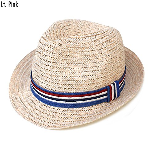 (Simonetta Cool All Season Beach Fedora Hat Stripe Band (Light Pink))