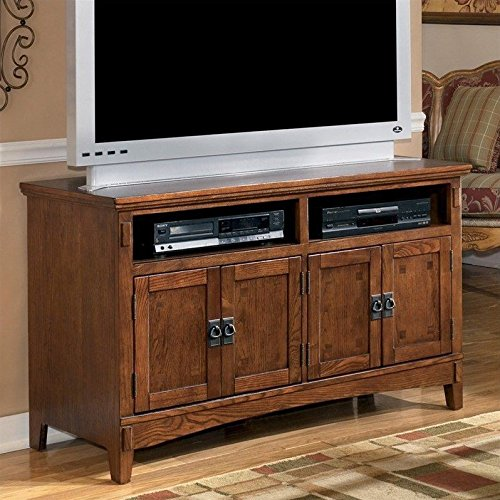 Ashley Furniture Signature Design - Cross Island TV Stand - 50in with 3 Cabinets and 2 Cubbies - Vintage Casual - Medium Brown (Inch Tv 50 Cabinets)