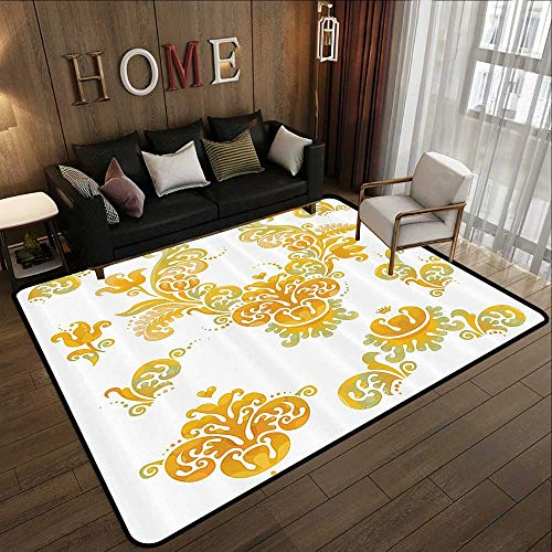 Contemporary Synthetic Rug,Traditional House Decor,Renaissance Tulip and Fern in Blurry Trippy Watercolor Design,Yellow Green 78.7