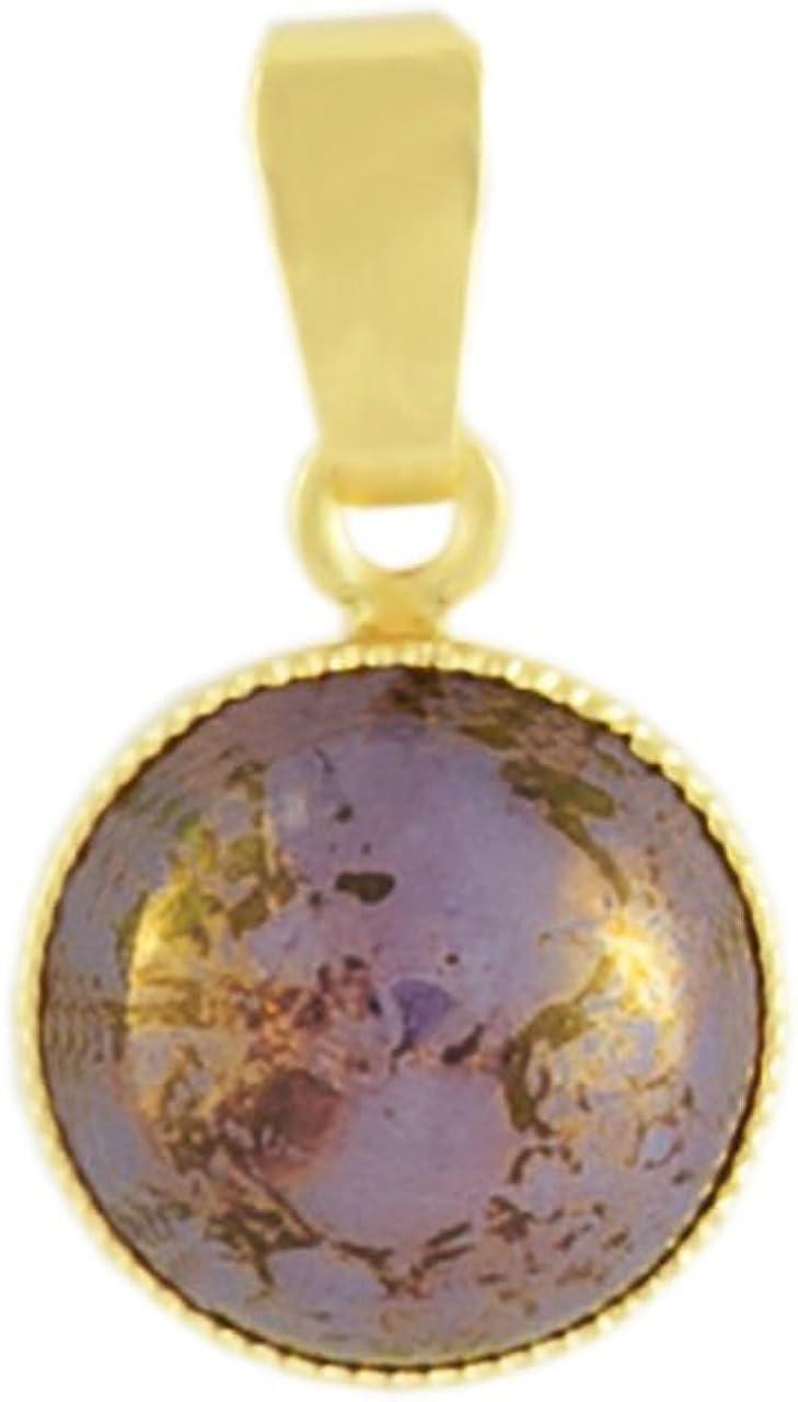 Oro 24K Chapado en Ronda Minimalista Colgante, Collar de 10mm de Terracota de color Púrpura Ópalo de Cristal checo de Piedra hechos a Mano BohemStyle