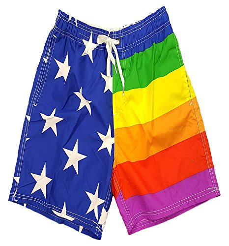 Rainbow Pride USA Flag Shorts Swim Run Trunks M
