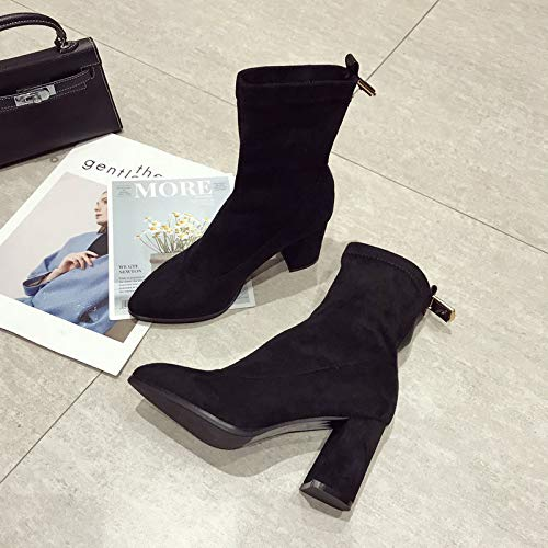 HBDLH Damenschuhe Mode Kurze Stiefel Stiefel Stiefel Mit Hohen 8Cm Street - Fan Wildleder Dünn Harte Starke Schnalle Single - Stiefel. 0ebf81