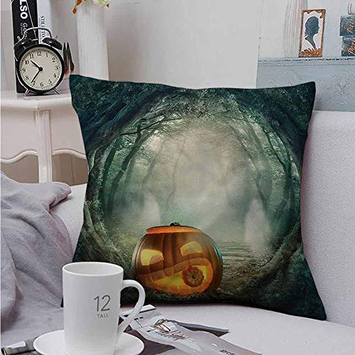 AndyTours Cushion Cases Throw Pillowcases Halloween Scary Pumpkin Resists Stains, Wrinkles 16 X 16 -