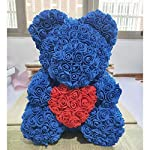 PROOY-Rose-Bear-Standing-Hand-Holding-Heart-Artificial-Eternal-Flower-Rose-Bear-Birthday-Holiday-Anniversary-Valentines-Day-fine-GiftBlue