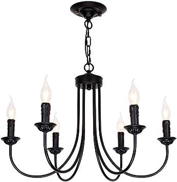 European Vintage Chandeliers Luxury Black Painted Iron Dining Room Ceiling  Pendant Lamps Living Room Bedroom Hanging Lights (6 Heads)