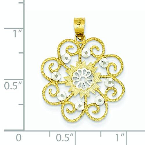 Or 14carats et rhodium Diamant Swirl Pendentif Rond