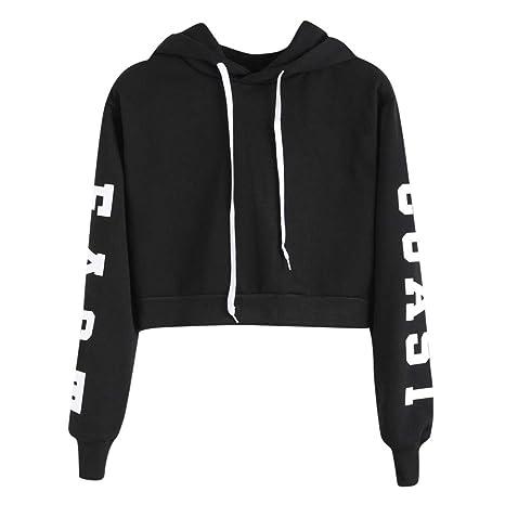 Sweatshirt Femme Imprimé, LMMVP Femmes Sweat à Capuche Des Lettres Pullover  Sweat,shirt Chemisier Polyester (S, Noir 2018)