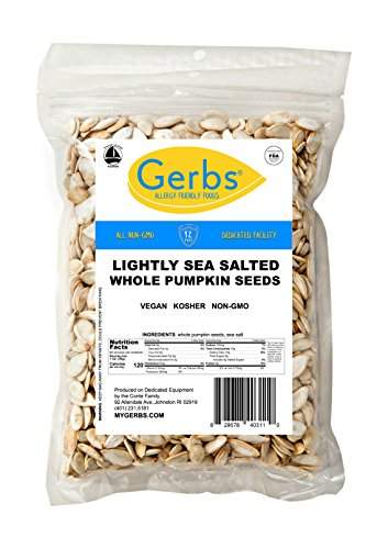- GERBS Lightly Sea Salted Whole Pumpkin Seeds, 4 LBS by Top 12 Food Allergy Free & Non GMO - Vegan & Kosher Certified - Dry Roasted In-Shell Pepitas from United States