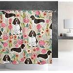 "NiYoung Shower Curtain Decorative Bath Curtain, Bathroom Water-Resistant Bathtub Curtain - English Springer Spaniel, 72"" x 70"" 6"