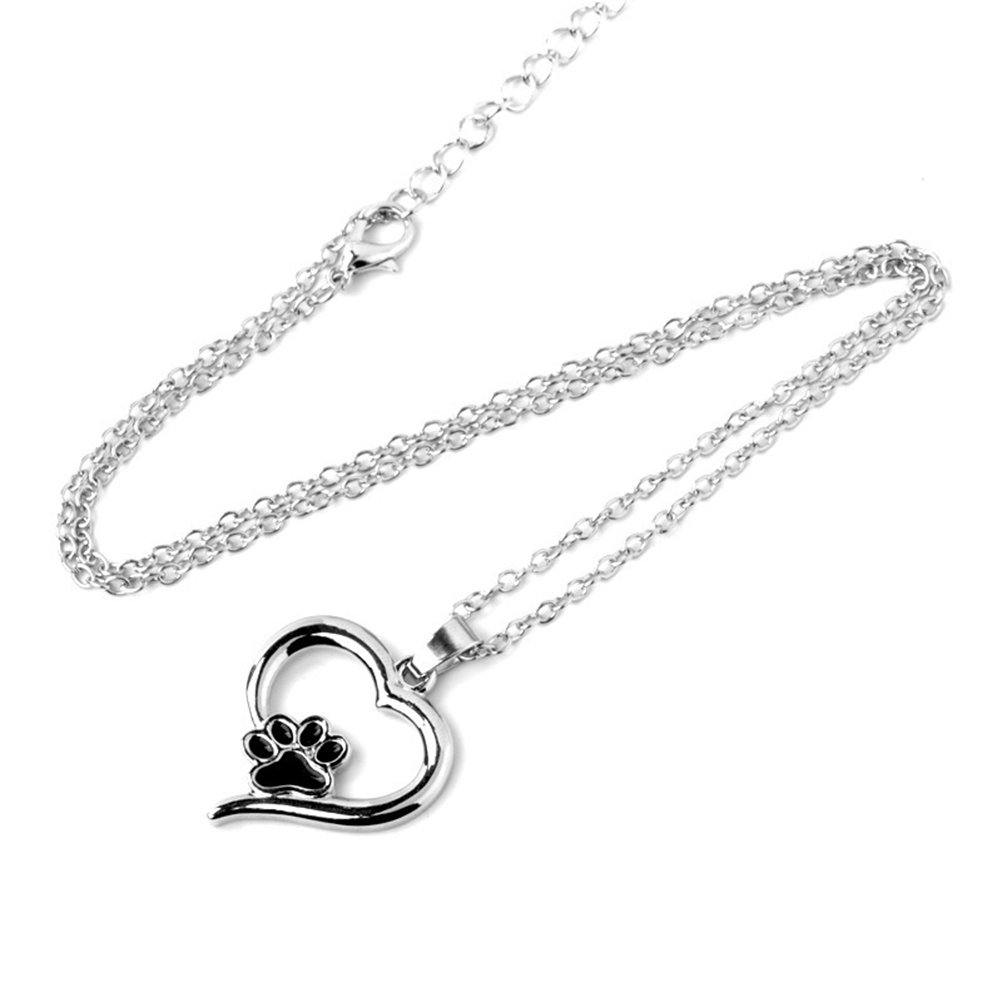 UEETEK dog memorial Necklace Paw Print Pendant Jewelry Heart-Shaped Pendant Necklace for Pet Dog Cat