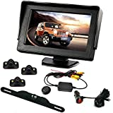 B-Qtech Backup Camera and Monitor Kit - 4.3 ' LCD Monitor Rear View Camera and 3 Car Blind Spot Camera with Waterproof Night Vision For Car/Vehicle To Avoid Blind Areas
