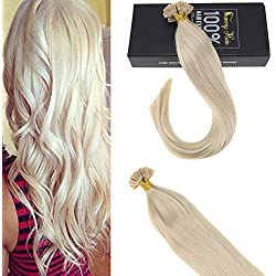 【Hot Sale】Sunny U Tip Keratin Hair Extensions Remy 20 Inch #60 White Blonde U Tip Fusion Hair Extensions Human Hair Remy 1g/Strand 50pack