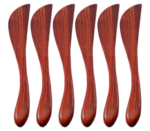 Natural Rose Wood Wooden Jam Cheese Bread Butter Knife Spread Spreader, 6 Pcs. by Land of Smile Handmade