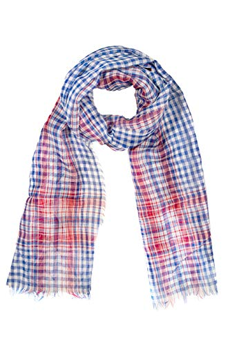 GIULIA BIONDI Cotton Plaid Scarf Soft Long Lightweight Shawl Wrap Women Men MADE IN ITALY (Sky Blue Red White, 29.5