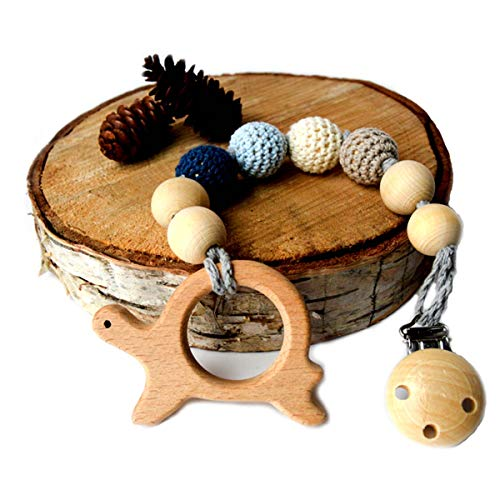 Mali Wear Natural Wooden Teething Toy and Pacifier Holder Strap Interchangeable, Dummy Clip (Blue Turtle)