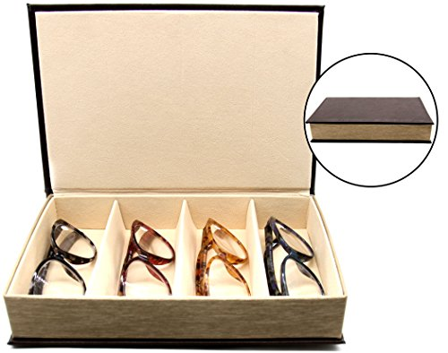 4 Slot Glasses Tray - Multiple Compartment Eyeglasses Organizer Storage and Display Case - Faux Leather - Elegant Book Design - Brown - by - Case Eyeglass Holder Multiple