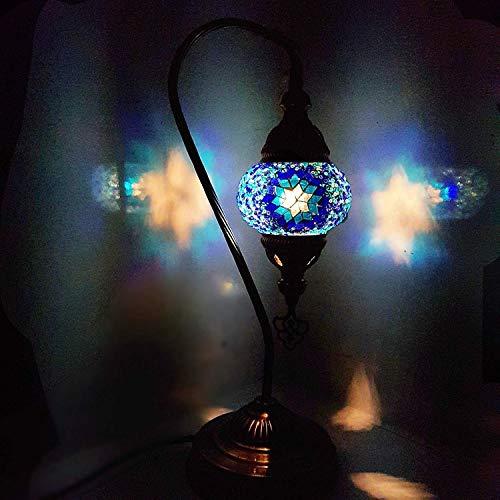 Handmade Turkish Moroccan Arabian Eastern Bohemian Tiffany Style Glass Mosaic Colourful Table Desk Lamp Lamps Home Decor (SM8) by LaModaHome