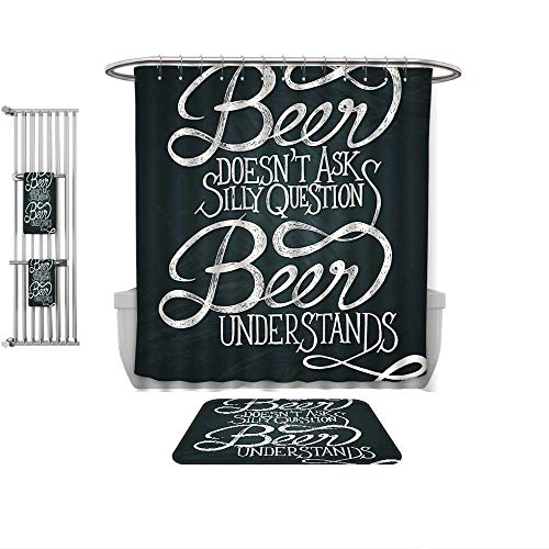 QINYAN-Home 4-Piece Bathroom Set-Quotes Decor Beer Understands Doesnt Ask Silly Questions Comic Quotes Funny Hipsters, 1-Shower Curtain,1-Mats 1-Bath Towel-Multiple Sizes