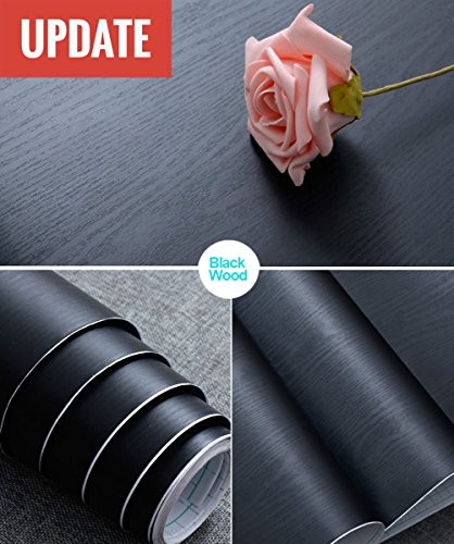 """Abyssaly Black Wood Contact Paper 11.8"""" X 78.7"""" Decorative Self-Adhesive Film for Furniture Surfaces Easy to Clean"""