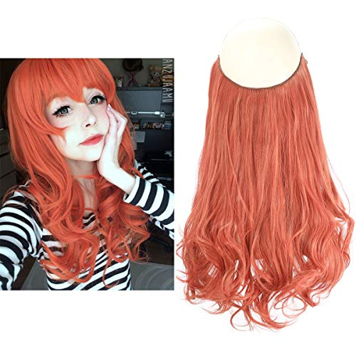 Colored Halo Hair Extension Secret Invisiable Flip Hidden Wire Crown Party Curly Long Synthetic Streak Hairpiece For Women Japan Heat Temperature Fiber SARLA 18
