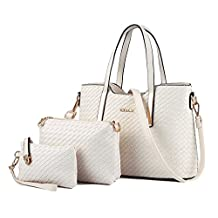Tibes Fashion PU Leather Women Handbag+Shoulder Bag+Purse 3pcs Bag Weave Tote