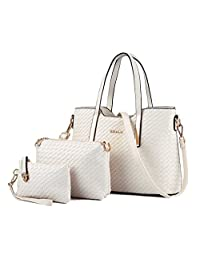Tibes Fashion Pu Leather Handbag+Shoulder Bag+Purse 3pcs Bag Tote