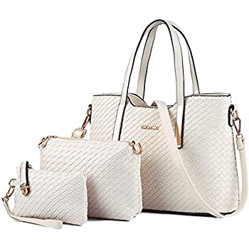 Tibes Fashion PU Leather Women Handbag+Shoulder Bag+Purse 3pcs Bag Weave Tote Beige