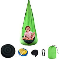 Camping Indoor Outdoor Portable Lightweight with Inflatable Cushion Hammock Chair Hanging Kids Pod Swing Seat Sleeping…