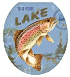Toilet Tattoos, Toilet Seat  Cover Decal, Lake Fishing, Size Round/standard