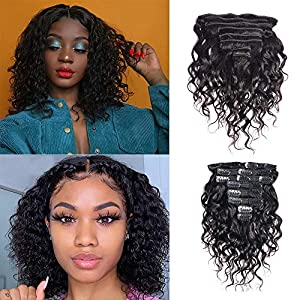 Brazilian Water Wave 8 PCS 18 Clips Real Remy Human Hair Clips In Extensions #1B Natural Black For Women Beauty – (12…