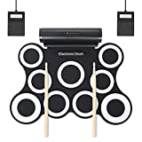 HJJH Portable Drums,Digital Foldable Roll-Up Drum Pad,9 Pad Digital Drum Kit, Touch Sensitivity, Wireless Electric Drums, Drum Machine, Electric Drum Pads