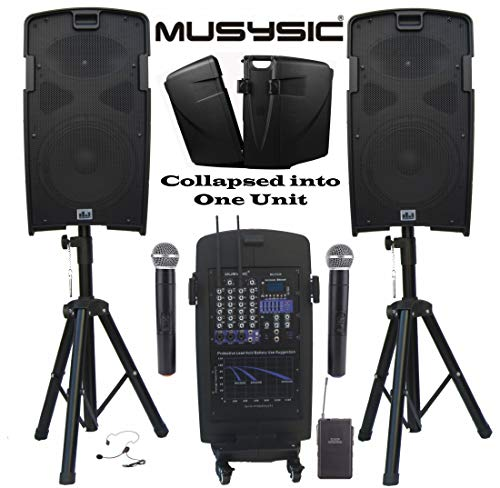 (MUSYSIC M-Port PA2K 2000W Portable PA System 2x10