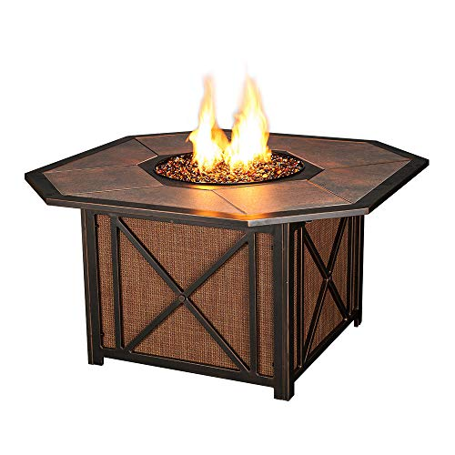 - Agio Haywood Gas Fire Pit with Copper Reflective Fire Glass
