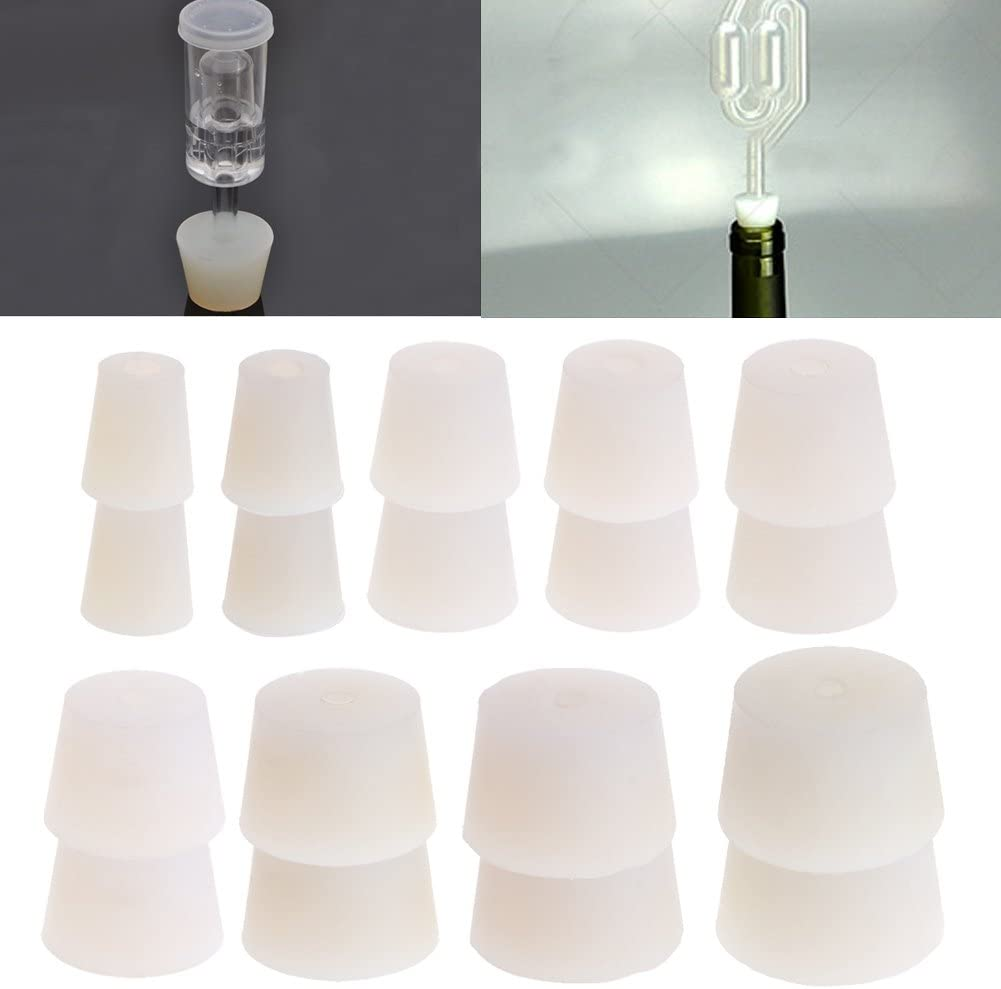 10 LainZYY 2 Pieces Silicone Rubber Plug Stopper with Hole Airlock Bubbler Valve Wine Brew