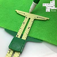 HONEYSEW 5-in-1 Sliding Gauge Measuring Sewing Ruler Tool for Sewing,Crafting, Marking Button Holes,Hem Gauge, Circle Compass, T Gauge